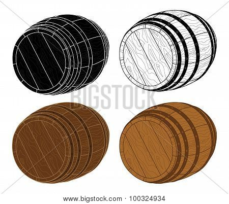 Four Wooden Barrels Vector