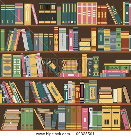 bookshelf, books,  library, vector