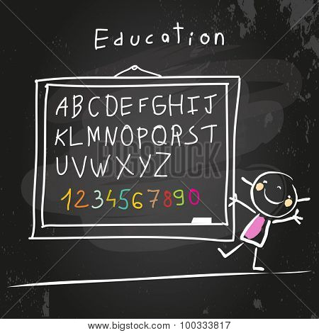 Abc, letters and numbers set. Chalk on blackboard, educational doodle style vector illustration.