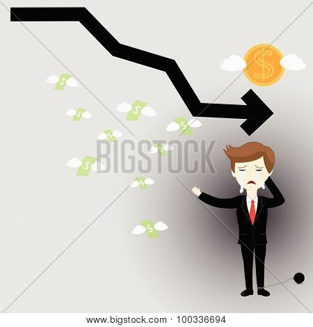 Business failures financial and prisons. vector illustration poster