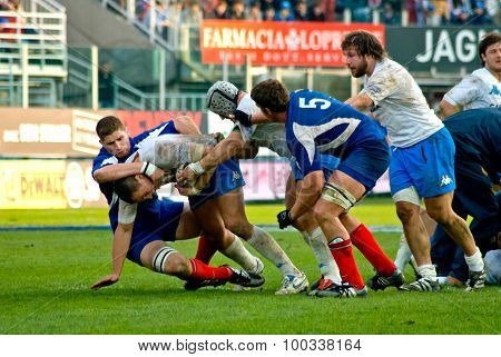 Rome, Italy - February 3 2007. Rugby Six Nations Cup Italy-france. Players In Scrum.
