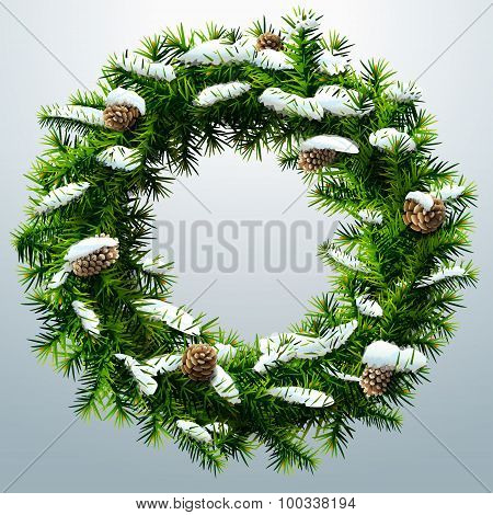 Christmas Wreath With Pinecones And Snow