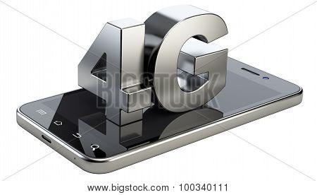 4G Sign On Smart Phone Screen. High Speed Mobile Web Technology.