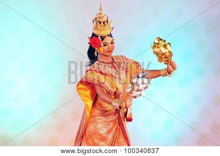 Bangkok, Thailand - January 15: Thai Traditional Dress. Actors Performs Thai Ancient Dancing Art Of