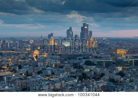 Stalin skyskrapers, Moscow International Business Center and panoramic view of Moscow