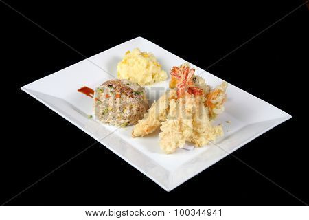 Menu Of Fried Fish With Rice And Mashed Potatoes