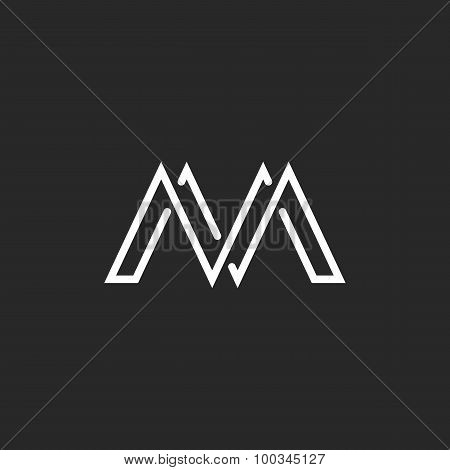 M Monogram Letter Logo, Crossing Thin Line, Black And White Mockup Emblem