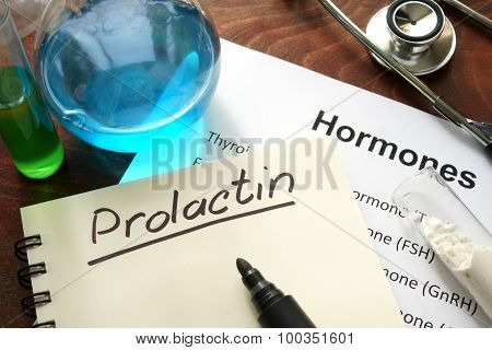 Hormone prolactin written on notebook.