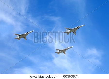 Military aircrafts TU-22M3. Supersonic bombers-missile carriers with variable sweep wing in flight i