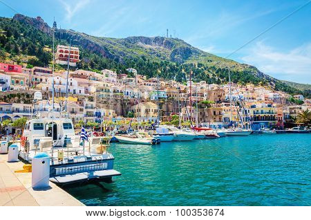 Colorful boats moored in Greek port, Greece