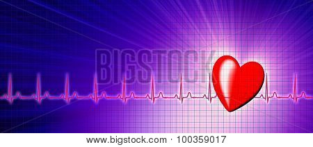 Heart Rate With Ecg Graph In The Cyberspace
