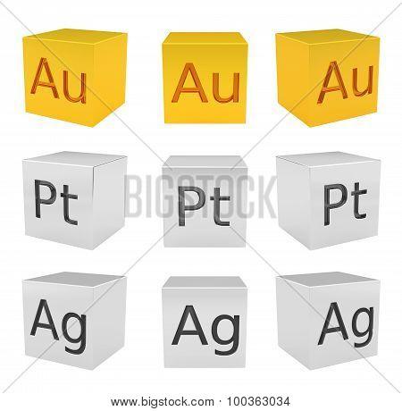 Noble metal cubes, gold, silver, platinum