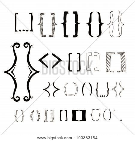 different hand drawn brackets. Bracket icons set.