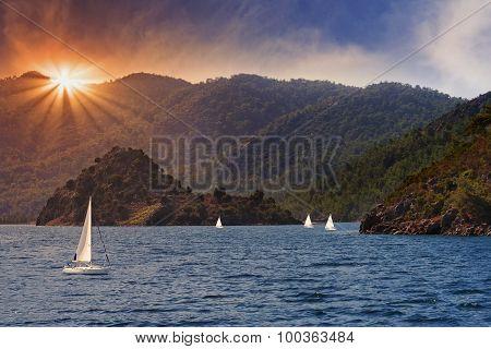 Island In Aegean Sea Hit By The Sunlight