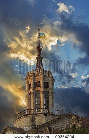 Ancient building at Kreschatyk street in Kiev Ukraine