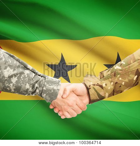 Men In Uniform Shaking Hands With Flag On Background - Sao Tome And Principe