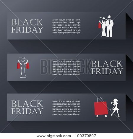 Black friday sales banners in modern design. Eps10 vector illustration