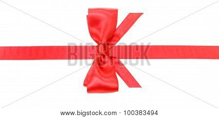 Real Red Bow With Vertically Cut End On Silk Band
