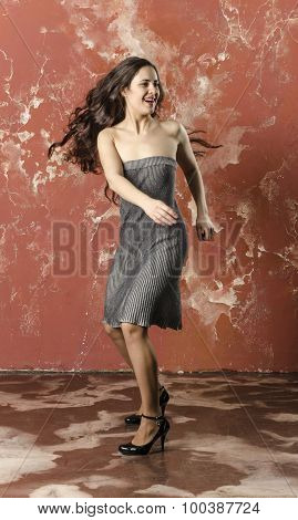 Young brunette  the actress plays theatrical scene