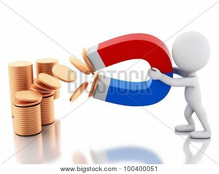 3d renderer image. White people with horseshoe magnet attracting money. Isolated white background poster