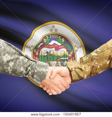 Military Handshake And Us State Flag - Minnesota