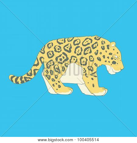 Flat hand drawn icon of a cute jaguar
