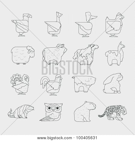 Line design vector animals icon set. Zoo children cartoon collection.
