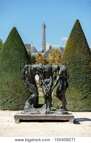 PARIS, FRANCE - SEPTEMBER 12, 2014: Paris - Museum Rodin. Sculpture of the Three Shades inspired with Divine Comedy of Dante