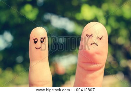 Finger art of girlfriends. The concept woman is thin and woman is fat. Toned image.