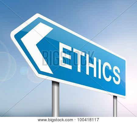 Illustration depicting a sign with an ethics concept. poster