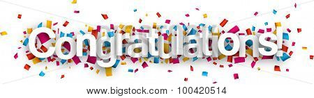 Congratulations paper sign over confetti. Vector holiday illustration.