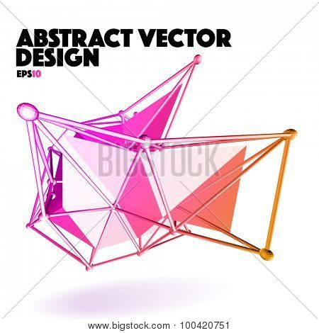Low Poly Abstract Vector Design Element - Multicolor Polygon