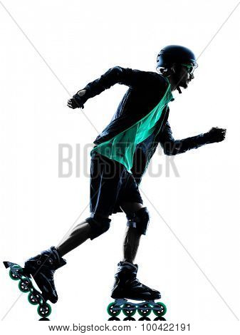 one caucasian man Roller Skater inline  Roller Blading in silhouette isolated on white background poster