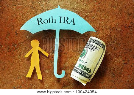 Paper cutout person under a Roth IRA umbrella poster