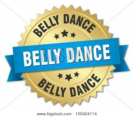Belly Dance 3D Gold Badge With Blue Ribbon