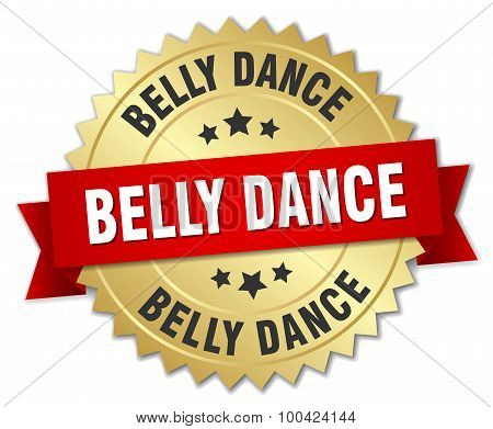 Belly Dance 3D Gold Badge With Red Ribbon