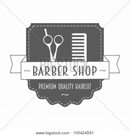 Vintage Barbershop Logo In Gray Color with scissors and comb poster