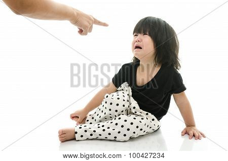 Asian Baby Crying While Mother Scolding
