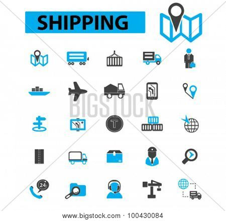 Shipping icons concept. Delivery, logistics, cargo ship,  container ship,  shipping box, air transportation, navigation. Vector illustration set
