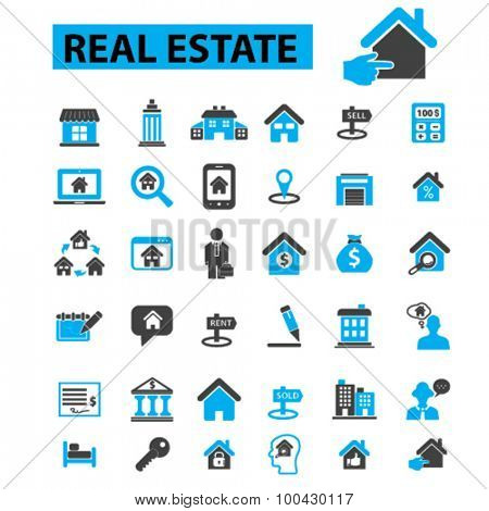 Real estate icons concept. House,  real estate agent,  home,  sold, rent, real estate concept. Vector illustration set