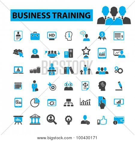 Business training icons concept. Business education, seminar, business school, adult education,  business learning, mba, business people,  university. Vector illustration set