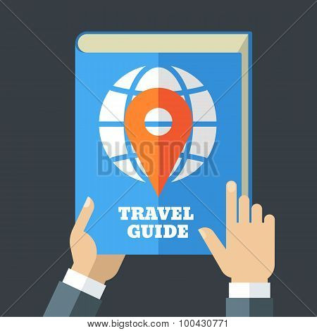 Mens Hand Holding Travel Guide. Creative Flat Illustration Of Blue Book, Globe And Waypoint Map Symb