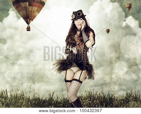 Beautiful Young Steampunk Woman Outdoor