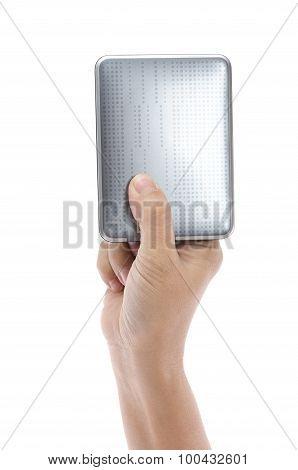 Hand Holding External Harddisk