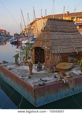 Nautical Nativity scene in Grado, Italy