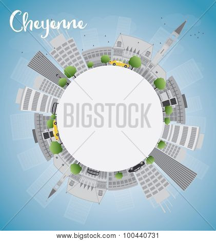 Cheyenne (Wyoming) Skyline with Grey Buildings, Blue Sky and copy space. Vector Illustration