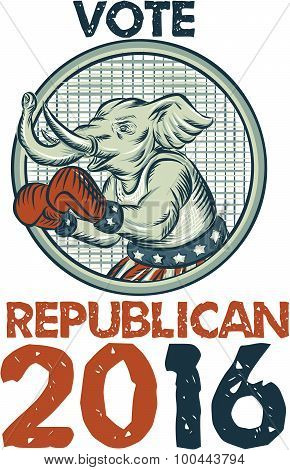 Vote Republican 2016 Elephant Boxer Etching