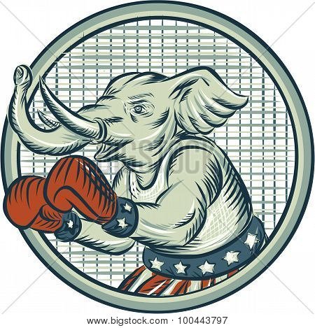Republican Elephant Boxer Mascot Circle Etching