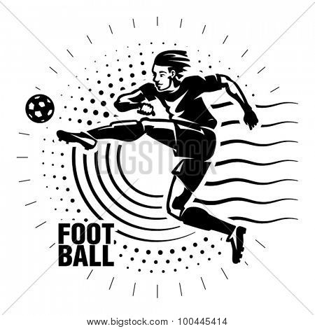 Football striker. Illustration in the engraving style