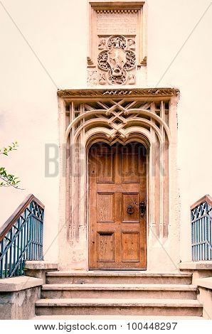 Decorated entrance and door